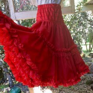 Vintage Style Double Ruffle RED Nylon Petticoat OS